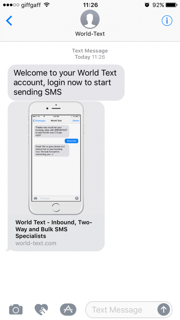 Open ended text messages